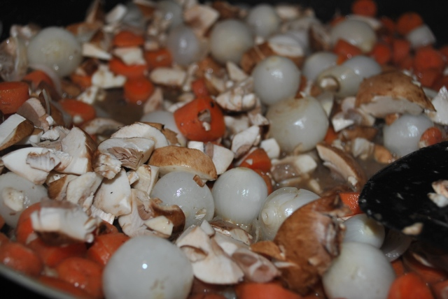 pearl onions, carrots, and mushrooms