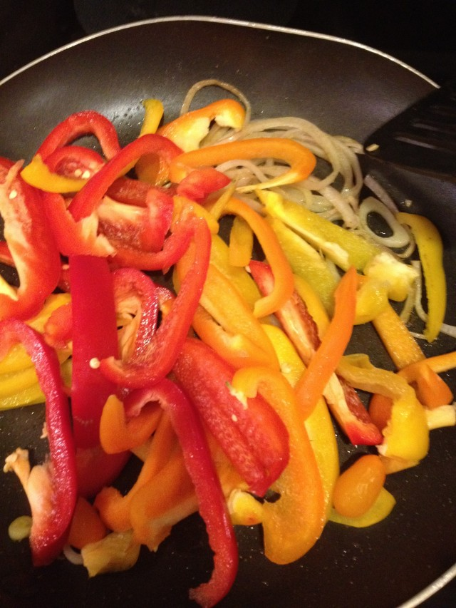 peppers and onions simmer down until soft
