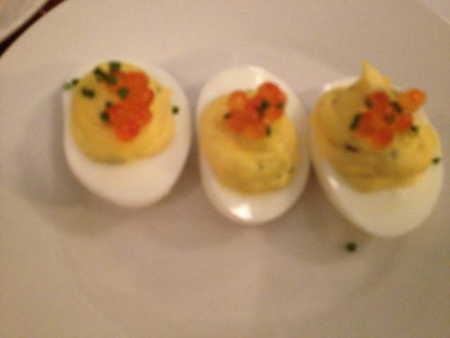 deviled eggs with salmon roe- we think they added some pickle juice in the mix too it was nom