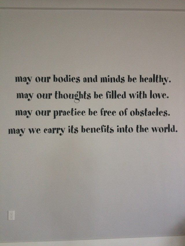 motto on the wall of tranquil space