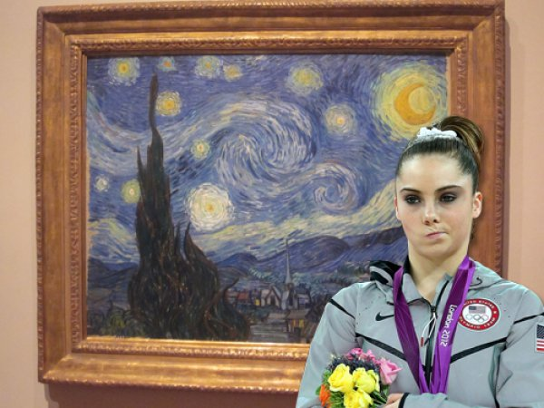 time to get artsty. Mcayla Maroney is already unimpressed.